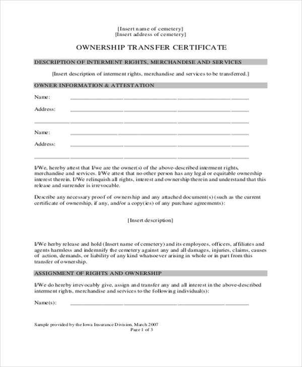 ownership transfer letter format