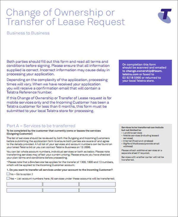 Lease Transfer Letter Template   Free Word Pdf Format Download