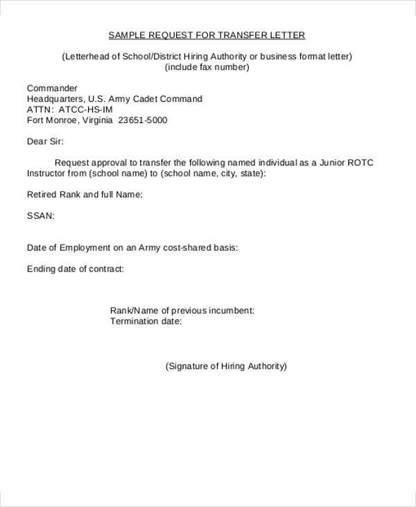 business transfer letter format