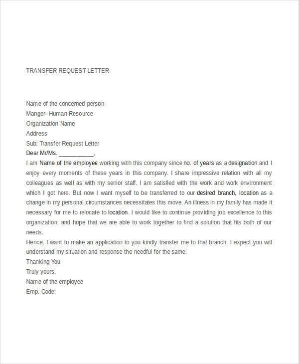 letter of request to transfer to another location 9 transfer request letter pdf doc free amp premium 29308 | Transfer Request Letter for Employee