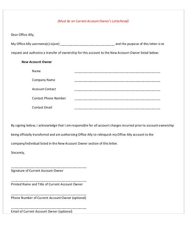 company ownership transfer letter template