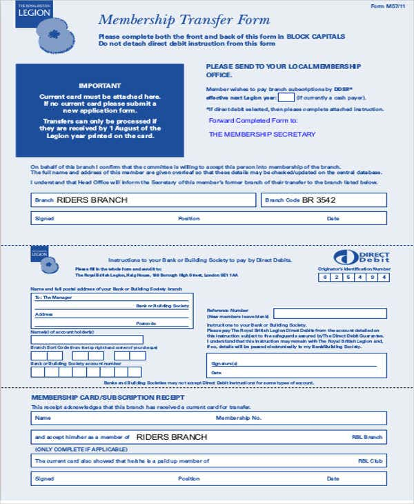 membership transfer letter form