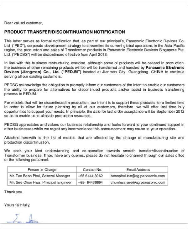 business transfer notification letter template