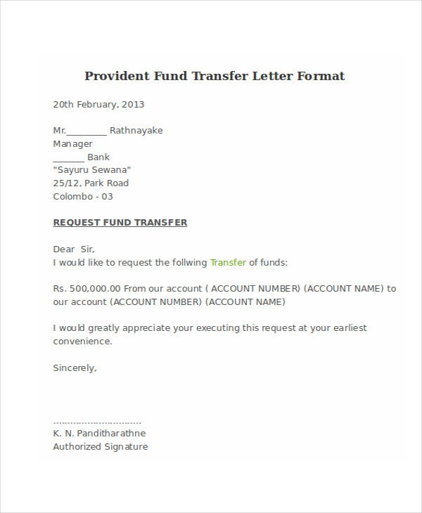 Fund Transfer Letter Template   Free Word Pdf Format Download