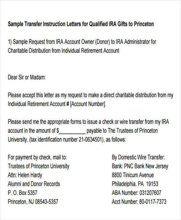 fund transfer instruction letter example
