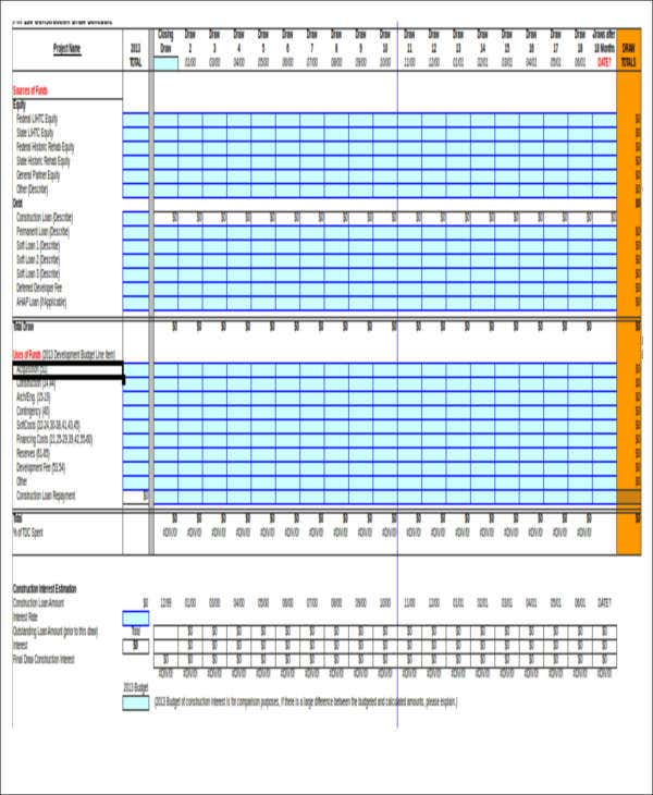 7 excel construction schedule templates free premium for Construction disbursement schedule
