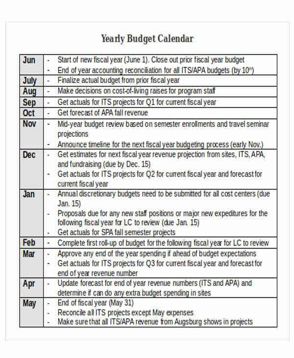 11  sample budget calendar templates
