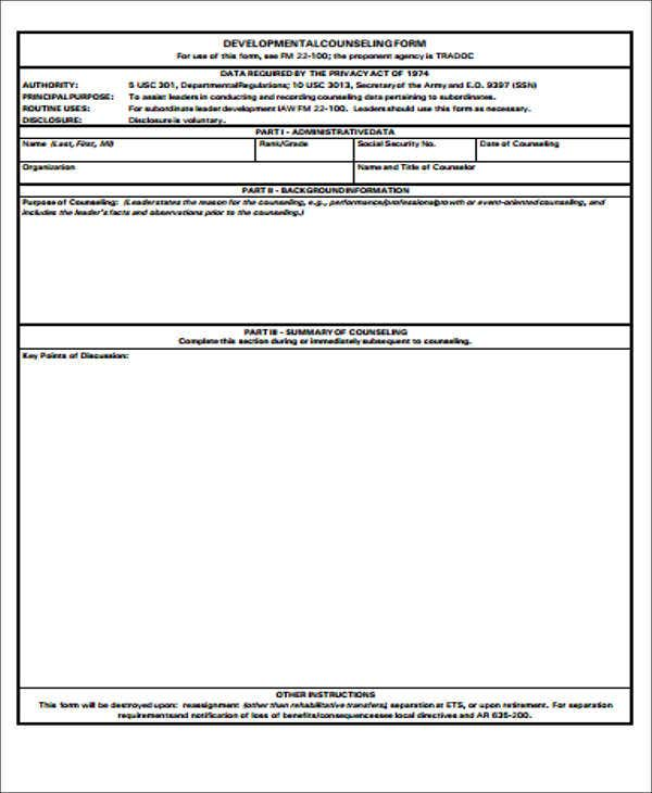 8  army counseling form