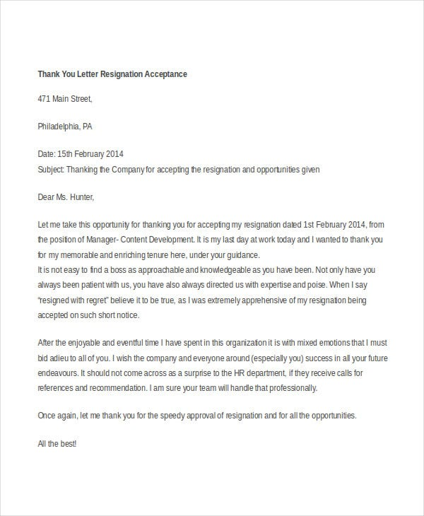 ThankYou Resignation Letter 6 Free Word PDF Documents