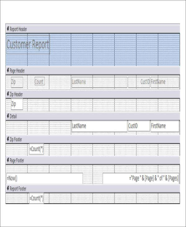 ms access report template