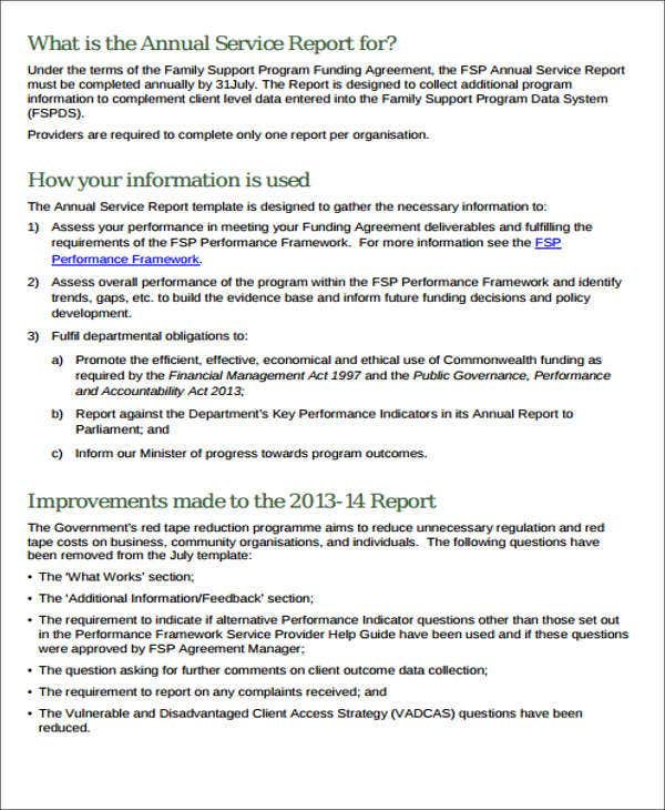 access service report template