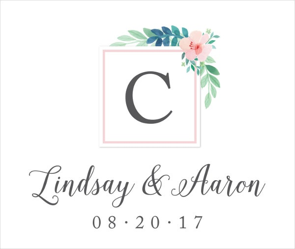 floral vintage wedding logo