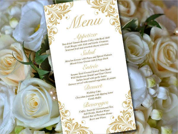 Wedding Dinner Menu Card