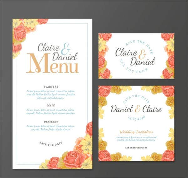 wedding menu cards templates for free wedding menu card 9 free psd eps vector free
