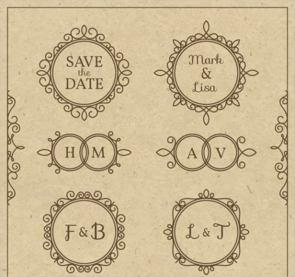 ornamental vintage wedding logo