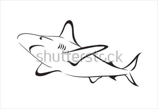 shark outline drawing
