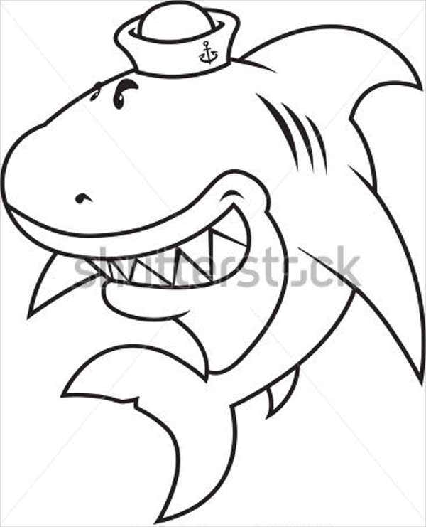 funny shark drawing