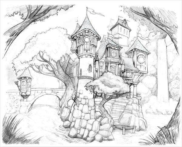 fantasy castle drawing