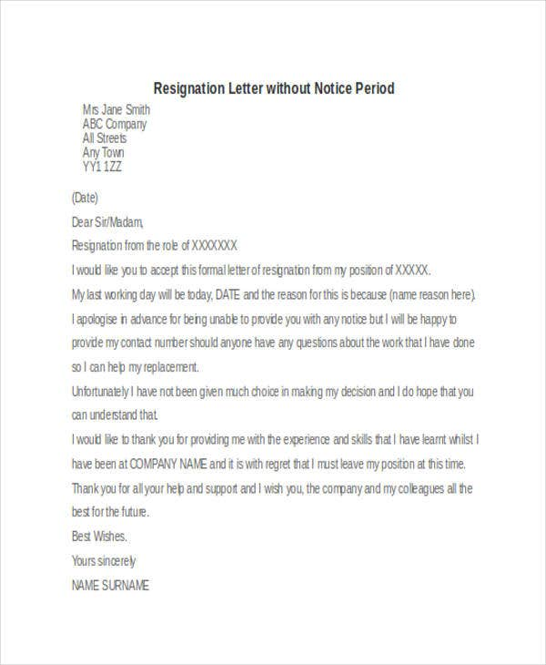 formal resignation letter format example without notice period