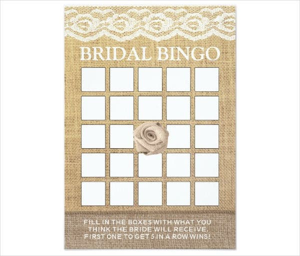 Blank Wedding Bingo Card