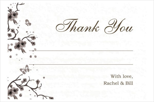 Blank Thank You Wedding Card