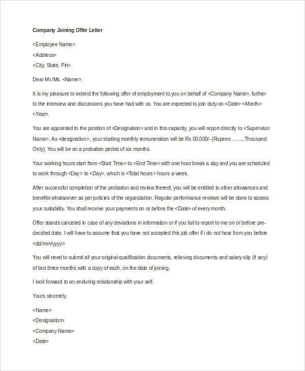 Company Offer Letter Template 7 Free Word PDF Format Download