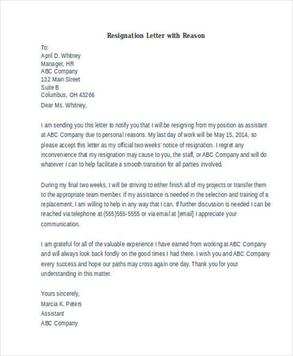 formal resignation letter format sample with reason