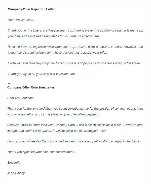 company offer rejection letter example