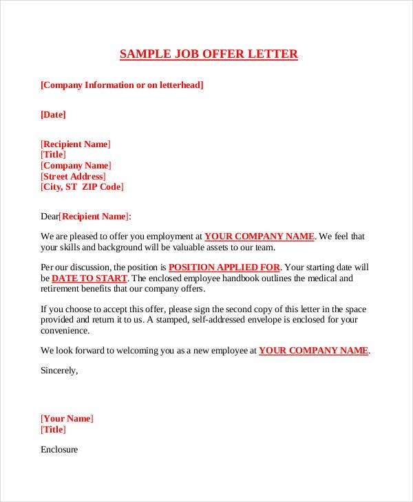 Company Offer Letter Template - 7+ Free Word, PDF Format Download ...
