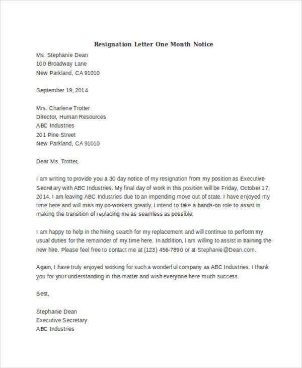simple resignation letter one month notice