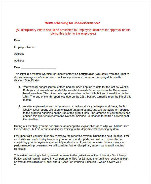 Job Warning Letter Template   Free Word Pdf Format Download