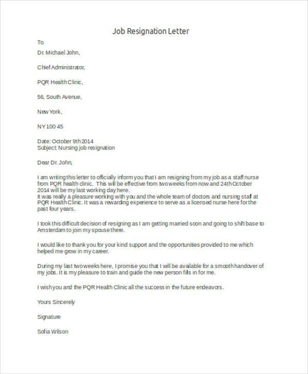 simple job resignation letter example