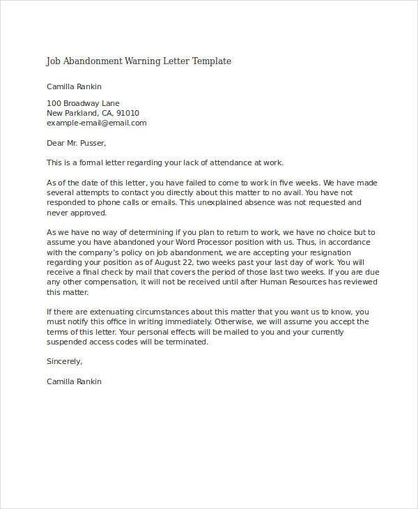job abandonment warning letter template