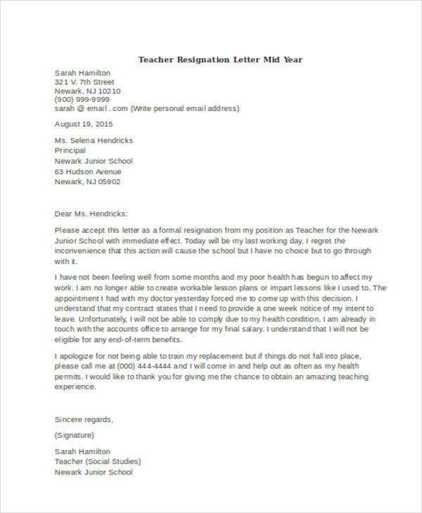 teacher resignation letter mid year example