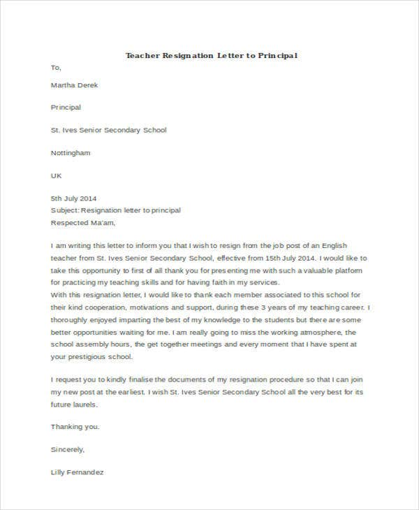 sample teacher resignation letter to principal1