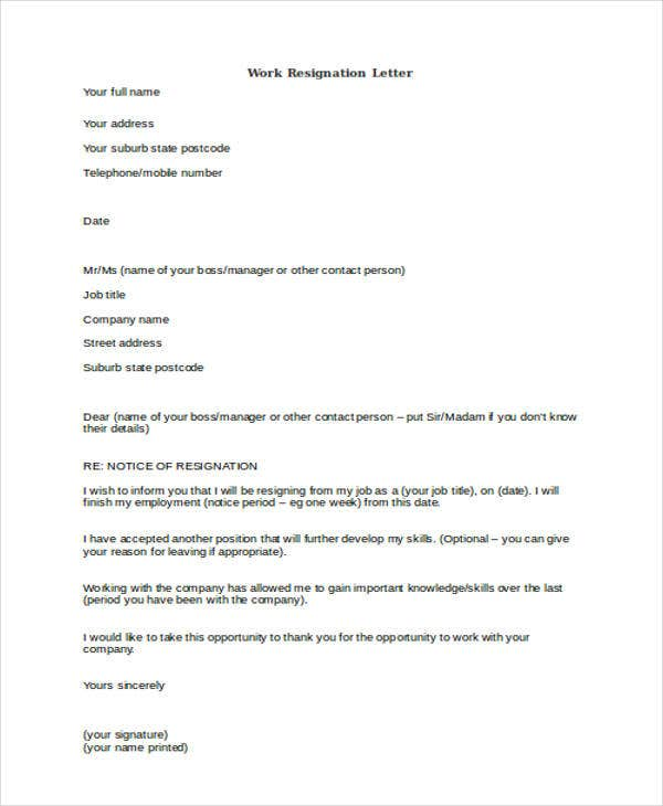 formal work resignation letter example