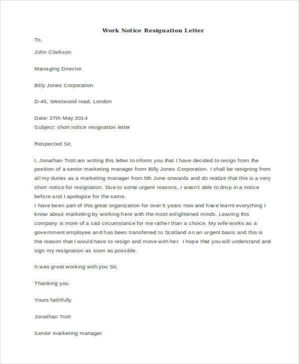 work notice resignation letter example
