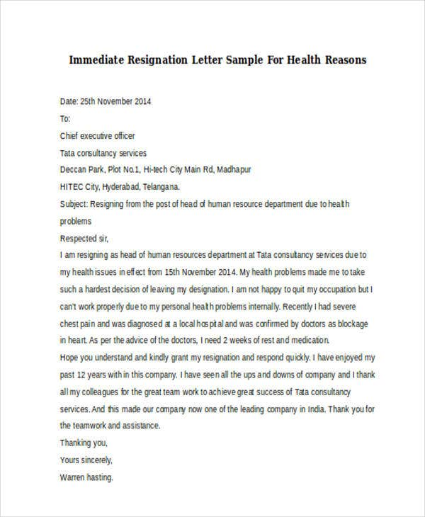 resignation letter immediate effect health reason