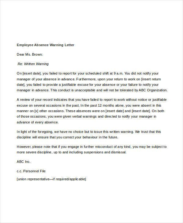 11 employee warning letter template pdf doc free premium employee absence warning letter template altavistaventures Image collections