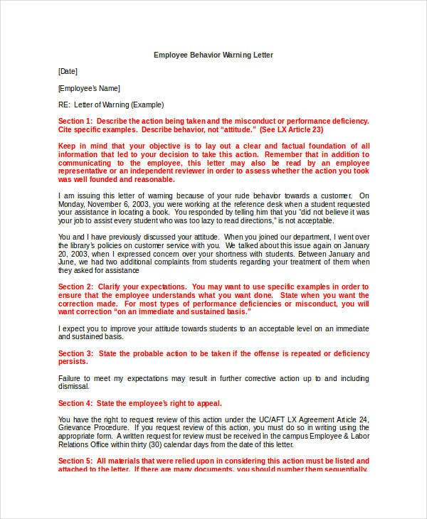 employee behavior warning letter template