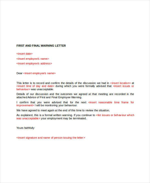 employee final warning letter template