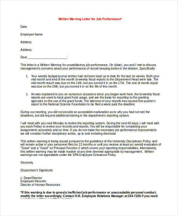 employee performance warning letter template