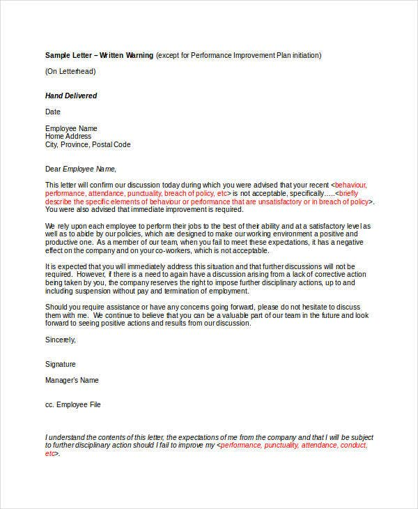 Employee Warning Letter Template   Free Word Pdf Format