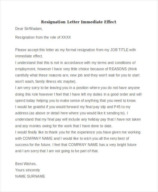 resignation letter immediate effect format