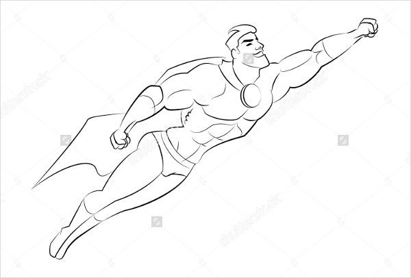 flying superhero drawing