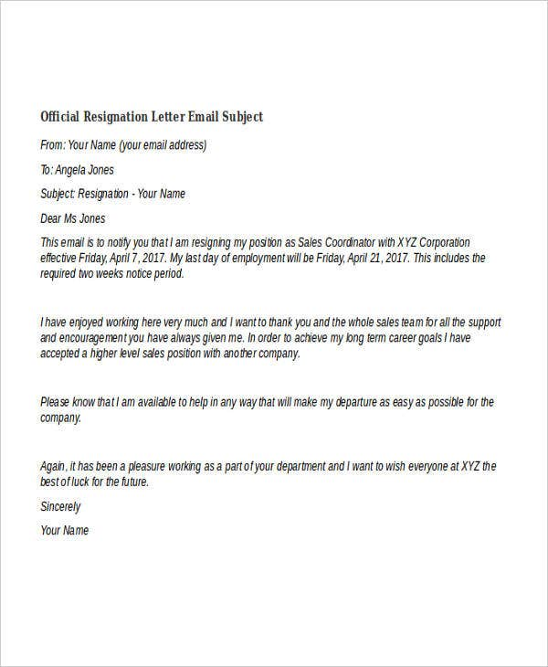 resignation letter format through email 40 resignation letter example free amp premium templates 13361