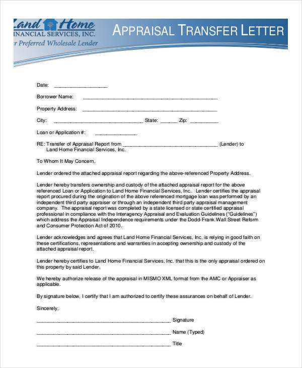 Appraisal Transfer Letter Template 5 Free Word Pdf