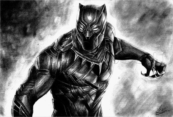 black panther superhero drawing