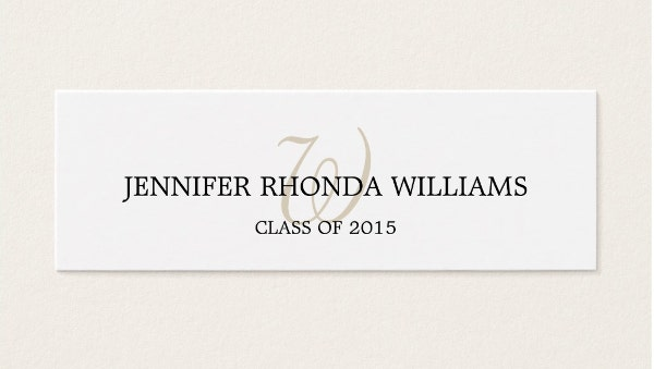 student-monogram-graduation-name-card