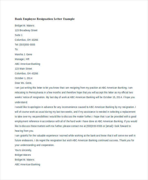 40 resignation letter example free premium templates bank employee resignation example bank employee resignation letter example altavistaventures Gallery